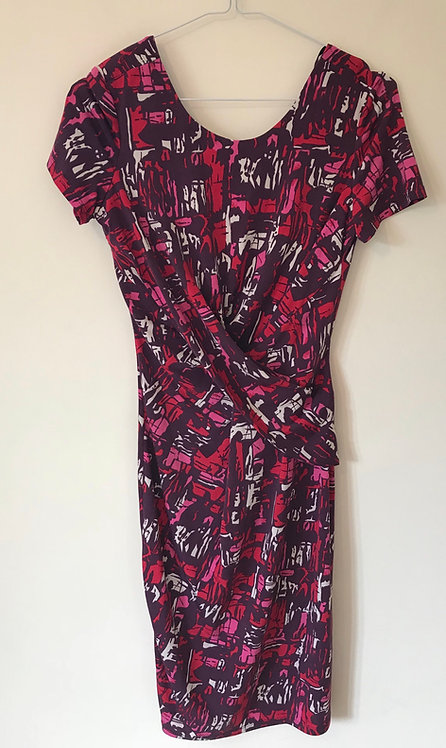 BETTY JACKSON BLACK. Purple cross front dress with coloured patterns. Size 8.