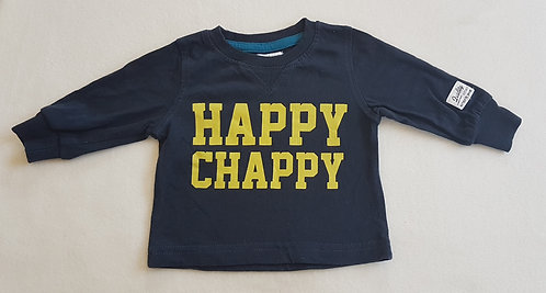 BABALUNO. Navy 'Happy Chappy' long sleeve top. Size 0-3 months.