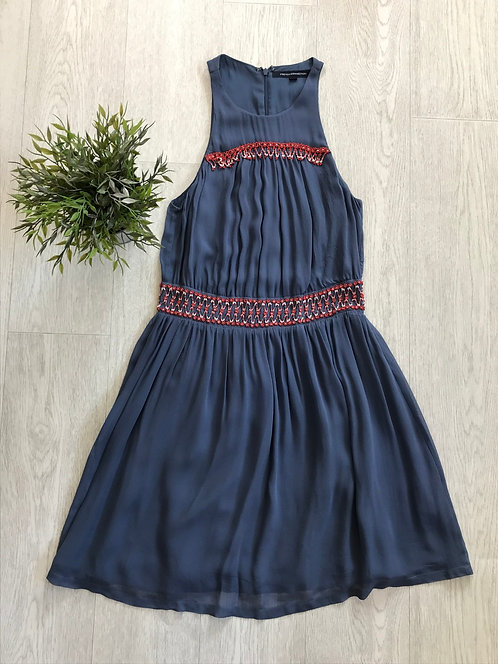 ⚫️FRENCH CONNECTION. Blue dress with beaded detail. Size 8.