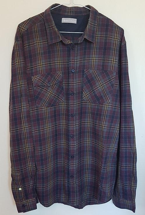 LIBERTIME-LIBERTIME. Burgundy checkered shirt. Size XL