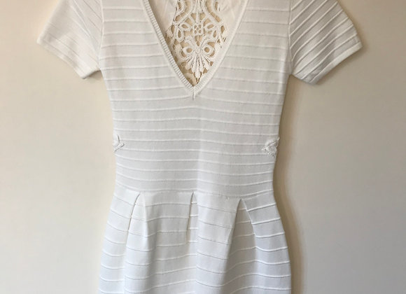 ⚫️FRENCH CONNECTION Cream short sleeve dress. New Without Tags. Size 10.