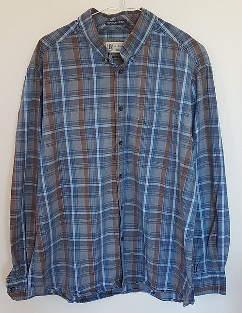 BLUE HARBOUR. Blue checkered shirt. Size Large.