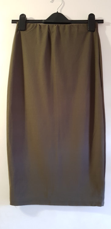 BOOHOO Khaki stretchy pencil skirt. Size 10
