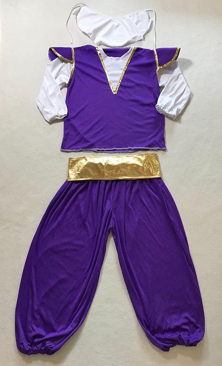 ⚫️ Aladdin fancy dress constume. Padded shoulders. Shiny gold Velcro belt.