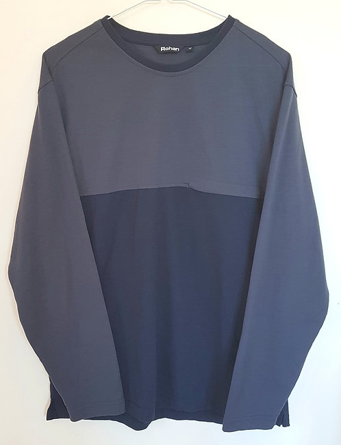 ROHAN. Grey and navy long sleeve top with zip pocket. Size M