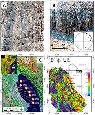 Top: Gneissic pre-rift basement fabrics in the shoaling margins of Northern Malawi Rift. Bottom left: Satellite maps & earthquake FMS of the Northern Malawi Rift. Bottom right: Aeromagnetic imaging of pre-rift basement fabrics and buried rift faults in Northern Malawi Rift. (Kolawole et al., 2018, Tectonics)