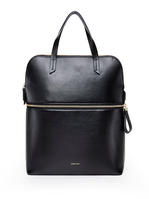 Le Pragmatique - the pragmatic - A backpack and a small tote in smooth black leather with a golden zip