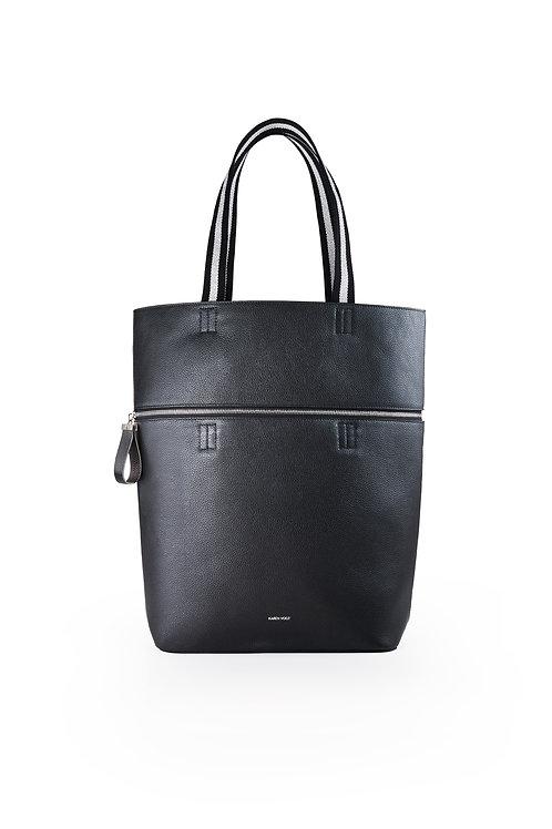 Le Généreux - Un sac oversize et un grand cabas en cuir noir grainé