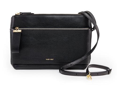 L'Espiègle - Un sac bandoulière et une pochette du soir en cuir grainé Noir