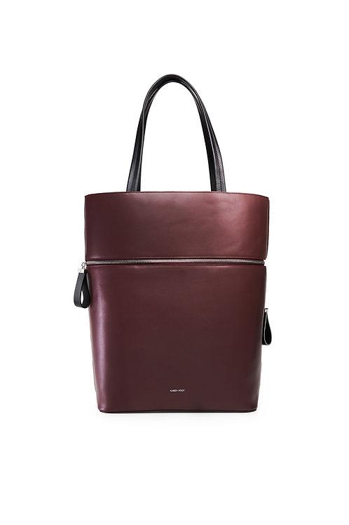 Le Généreux - Un sac oversize et un grand cabas en cuir aubergine lisse