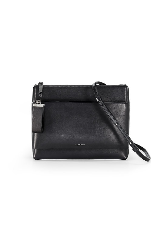 L'Espiègle - the mischievous. A cross-body bag and an evening pouch in black smooth leather