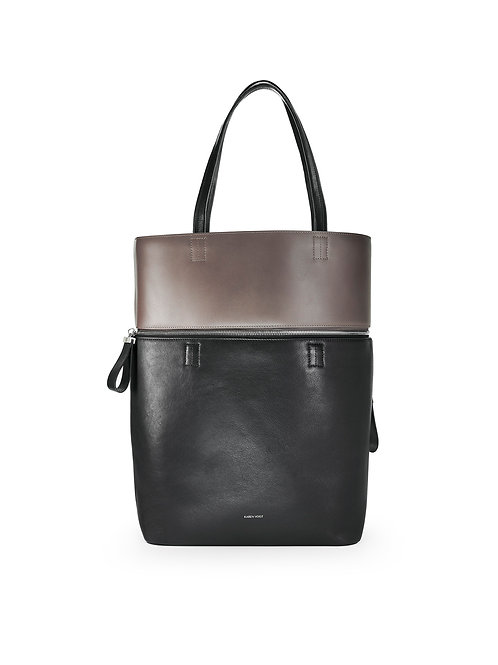 Le Généreux - A carry-all and a tote bag in two tones, black and taupe