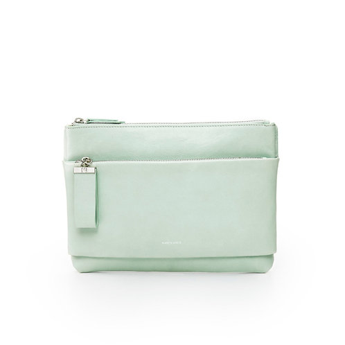 L'Espiègle - the mischievous. A cross-body bag and an evening pouch in celadon smooth leather