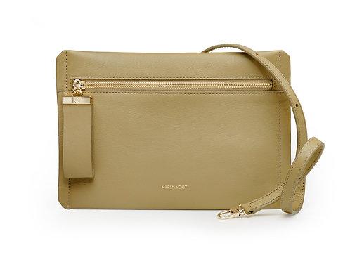 L'Indécise - the Undecided. A short or long shoulder bag, almond leather