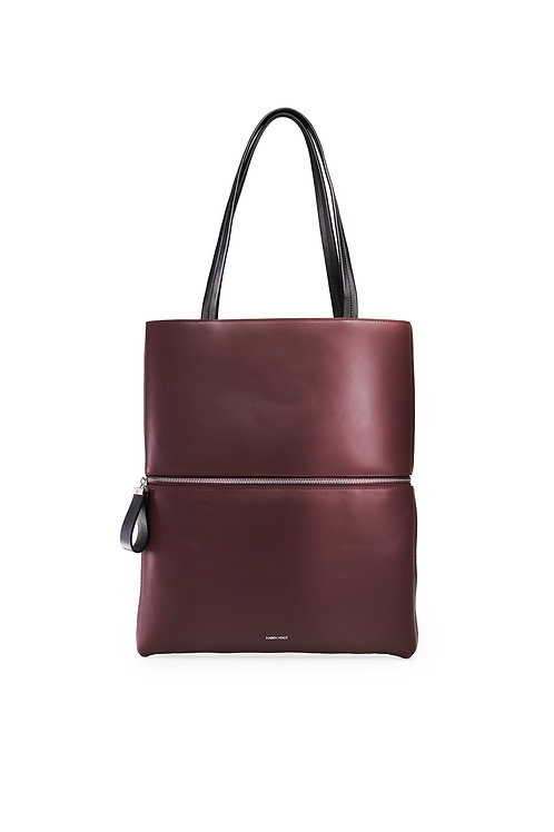 L'Impeccable - the impeccable. A tote and a shoulder bag in eggplant colour of leather