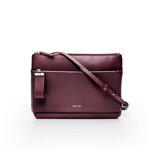 L'Espiègle - the mischievous. A cross-body bag and an evening pouch in eggplant smooth leather