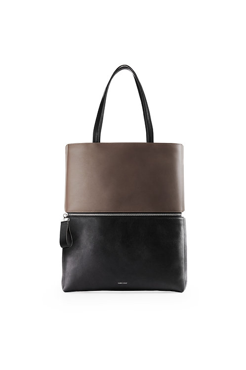 L'Impeccable - the impeccable. A tote and a shoulder bag in two tones, black and taupe.