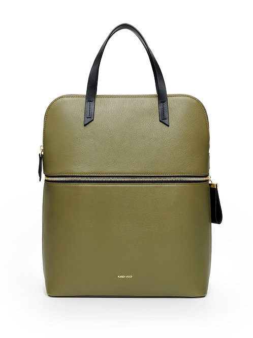 The Pragmatic - the pragmatic - A backpack and a small tote bag in khaki grained leather with a golden zip