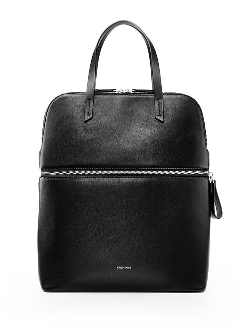 Le Pragmatique - the pragmatic - A backpack and a tote bag in black leather