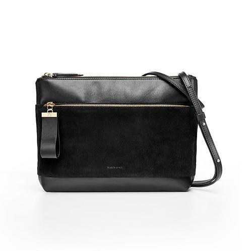L'Espiègle - Un sac en bandoulière et une pochette du soir en cuir et suede noir