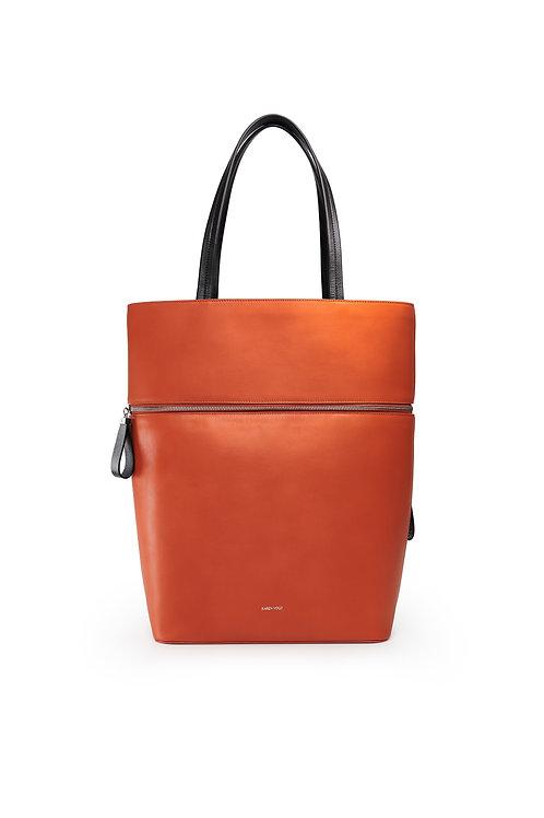 Le Généreux - Un sac oversize et un grand cabas en cuir orange rust lisse