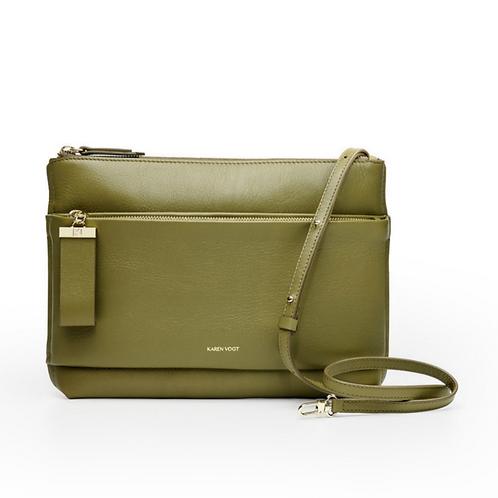 L'Espiègle - Un sac en bandoulière et une pochette de soirée en cuir kaki grainé