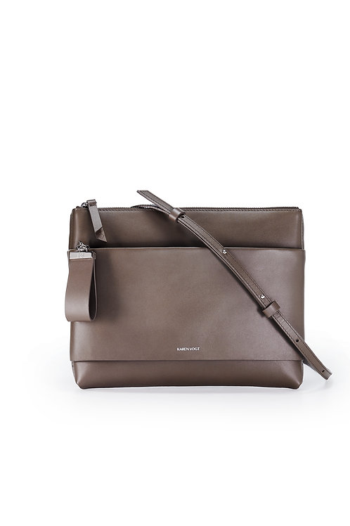 L'Espiègle - the mischievous. A cross-body bag and an evening pouch in taupe colour