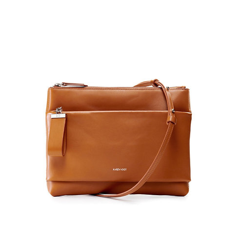 L'Espiègle - the mischievous. A cross-body bag and an evening pouch in tobacco smooth leather