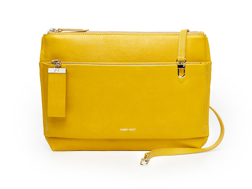 L'Espiègle - the Mischievous. A shoulder bag and an evening clutch bag in Yellow leather