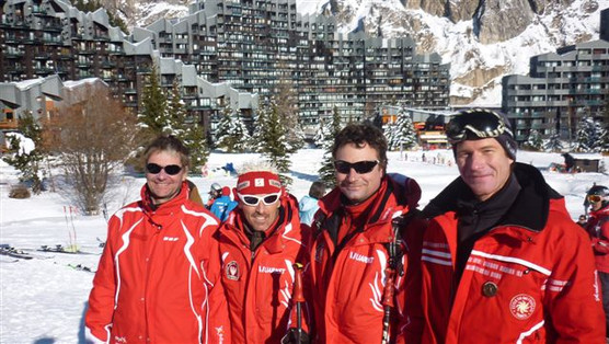 Les entraineurs du RCF avec Thierry Schoen, Fanlou, Olivier Daubin, Sylvain Drocourt 2011