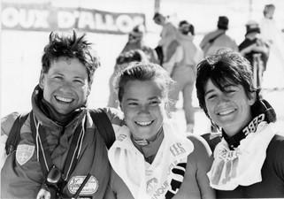 Championnats de France FIS 1989 à la Foux d'Allos et Seignus d'Allos : Olivier Landeau, Florence Maincent, Rosine Guimbaud