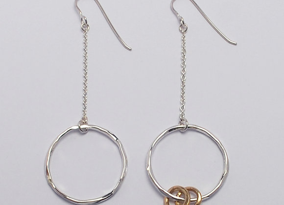 Circle on chain earrings