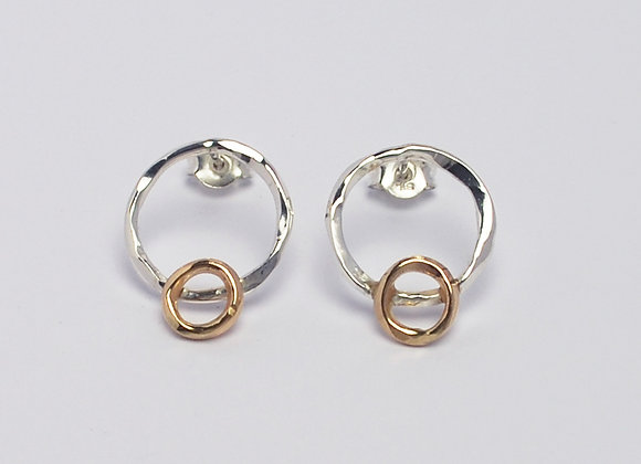 Silver and gold circle studs