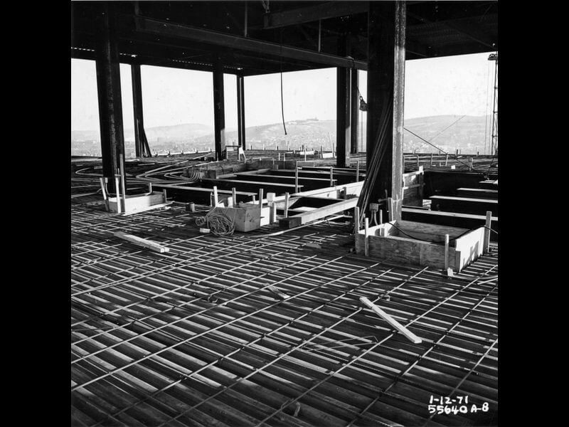 Martin Tower Boardroom in 1971 being built