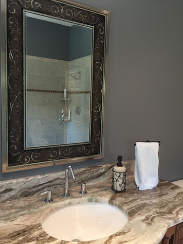 Marble Countertop with Silver Faucet
