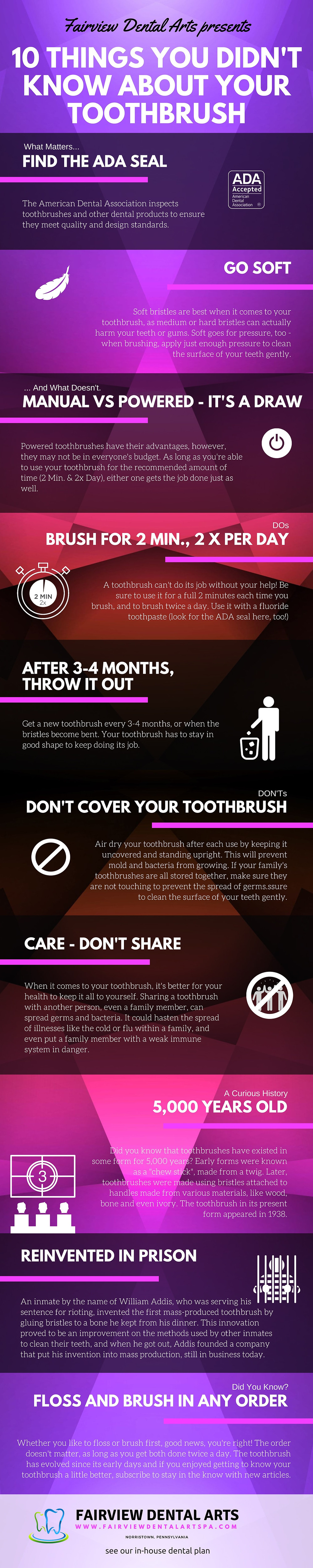 10 Things You Didnt Know About Your Toothbrush Infographic by Fairview Dental Arts