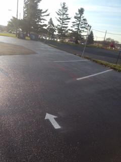 Closeup of parking lot paved