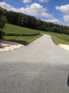 Back road in rural setting after paving