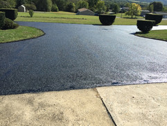Driveway fresh from being paved