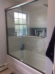 Shower Tub Glass Door and Marble tiles
