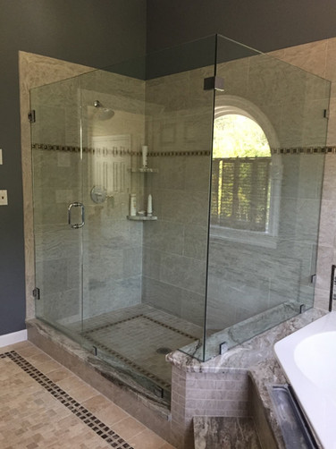 Marble Shower with Glass Walls