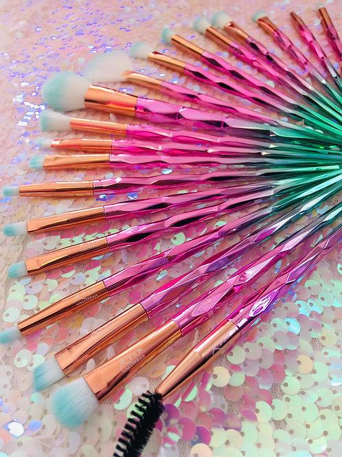 Golden/pink/green 20pc brush set