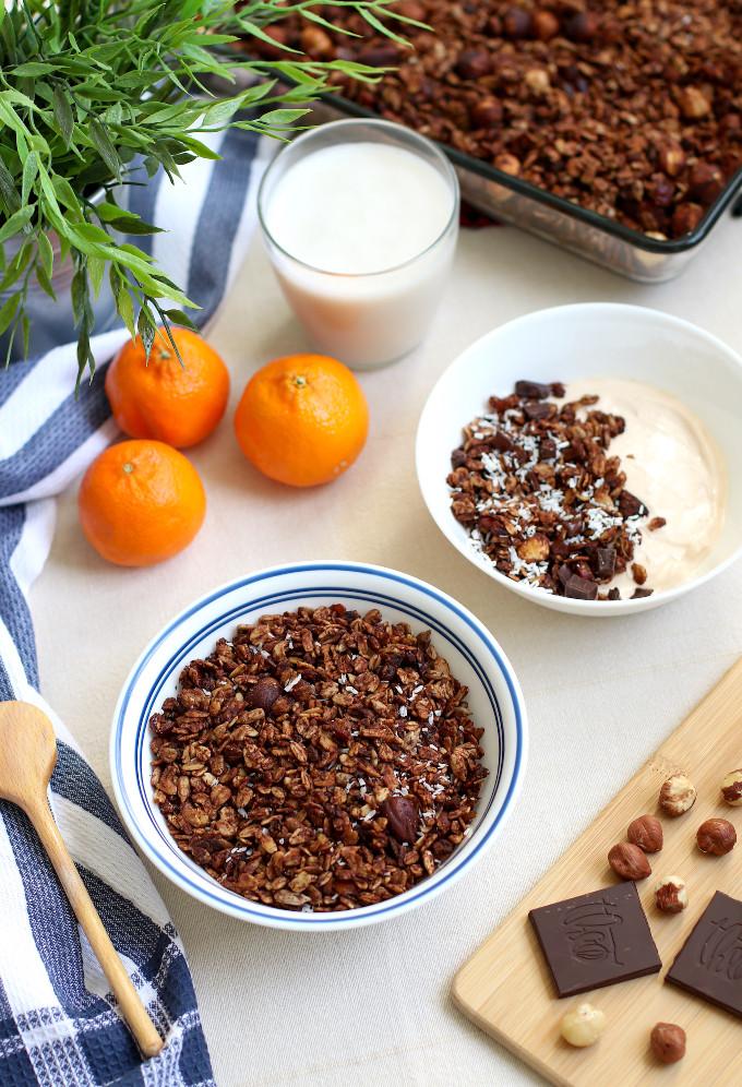 easy chocolate hazelnut granola