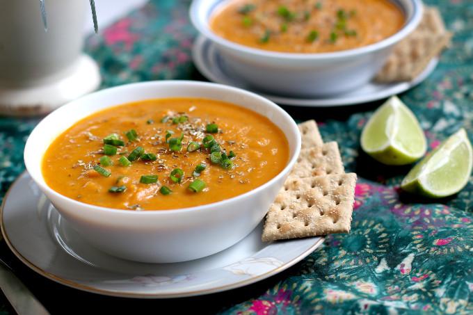 vegan carrot sweet potato soup