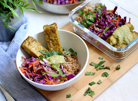 Tempeh Buddha Bowl with Bell Pepper Sauce