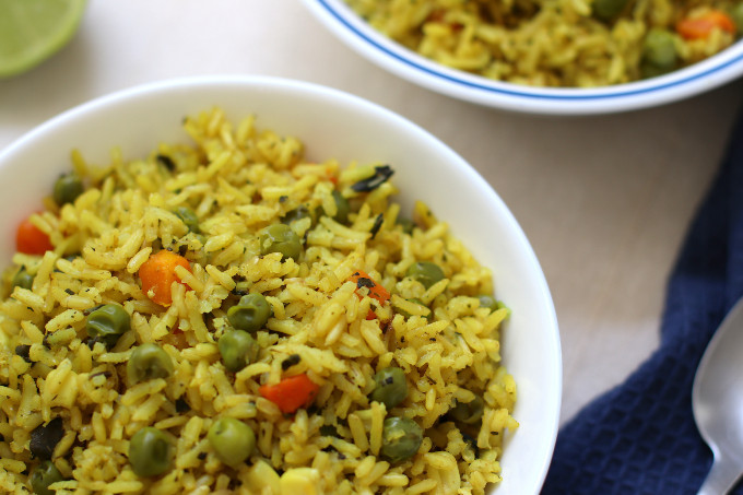yellow rice with peas and carrots