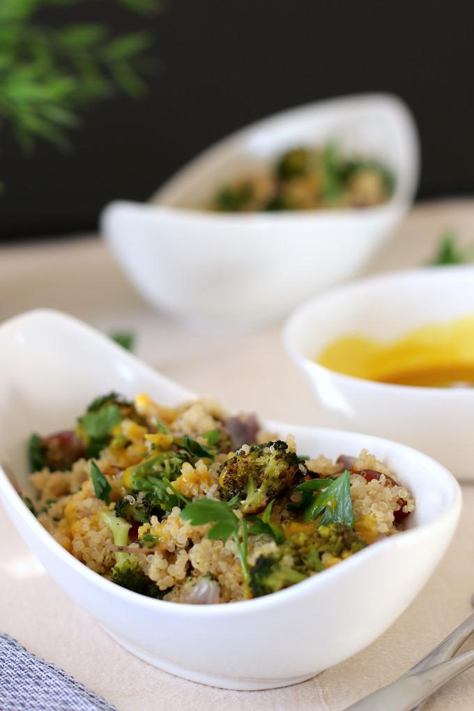 vegan roasted broccoli quinoa salad