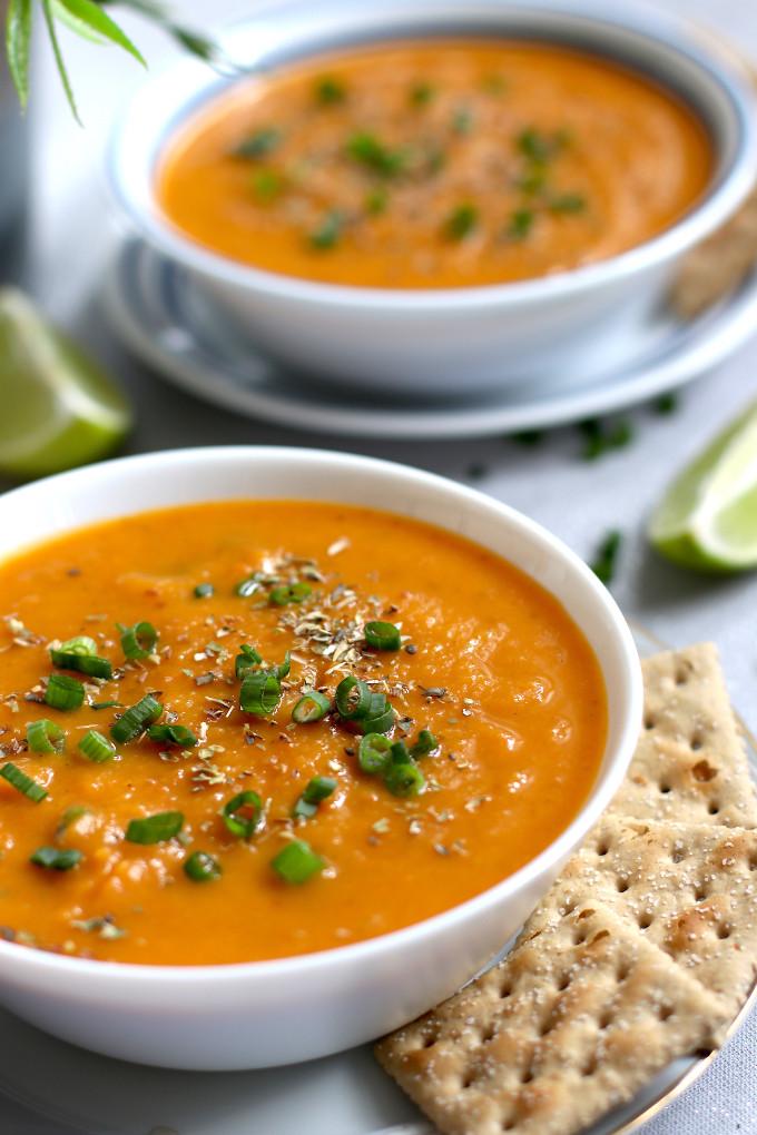 creamy carrot sweet potato soup