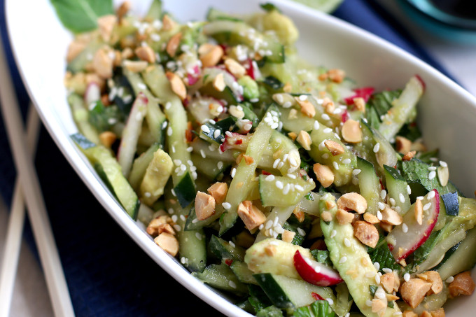 asian cucumber salad with peanuts