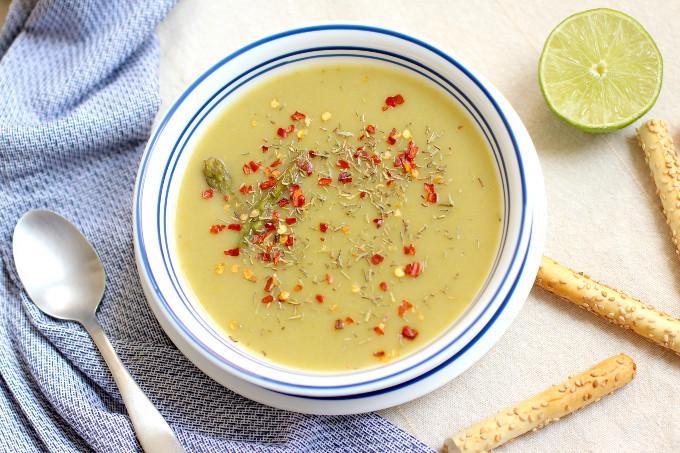 vegan asparagus and potato soup